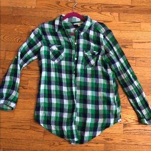 Navy / Green plaid button up shirt sz L
